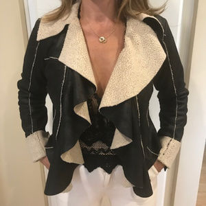 Poetry Faux Leather Shearling Unstructured Jacket
